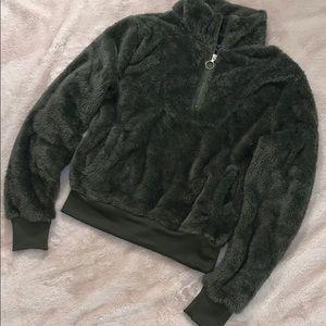 Jackets & Blazers - Forest Green Fleece Jacket Pullover, LARGE